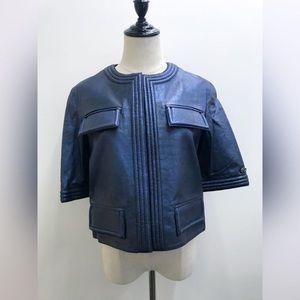Chanel leather jacket blue